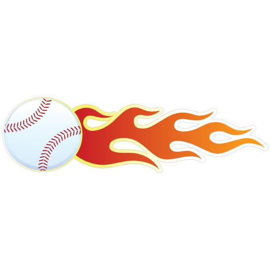 Baseball With Flames Sticker