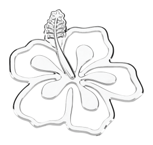 Hibiscus Flower 3-D Chrome Plated Sticker