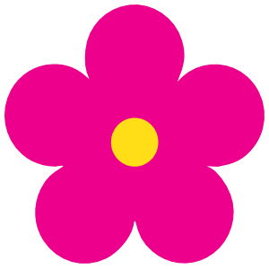 Printed Hot Pink Daisy Flower Sticker