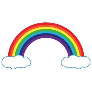 Rainbow Sticker With Clouds