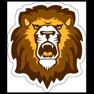 Lion Cat Head Roaring Sticker - Color