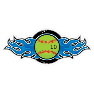 Softball with Blue Flames Sticker - 10.4