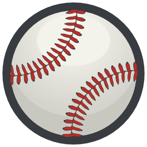 Color Baseball with Red Seams Sticker