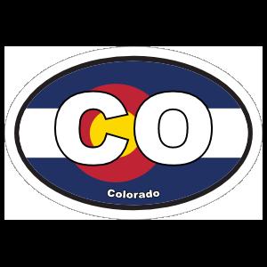 Colorado Co State Flag Oval Sticker