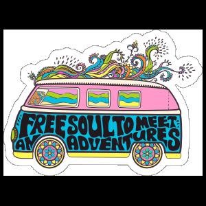 Colorful Hippie Bus Sticker