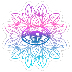 Colorful Lotus with Third Eye Mandala Boho Sticker