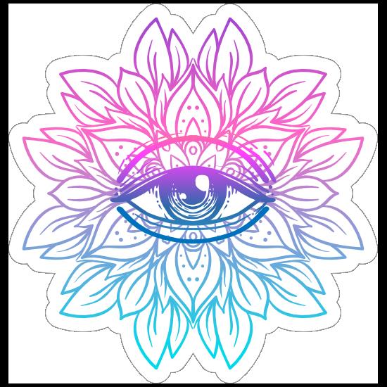 Colorful Lotus with Third Eye Mandala Boho Sticker