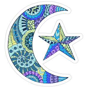 Colorful Moon And Star Sticker