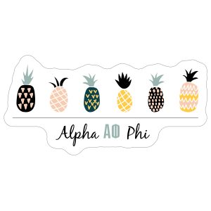 Colorful Pineapples Alpha Phi Sticker