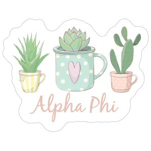 Colorful Potted Succulents Alpha Phi Sticker