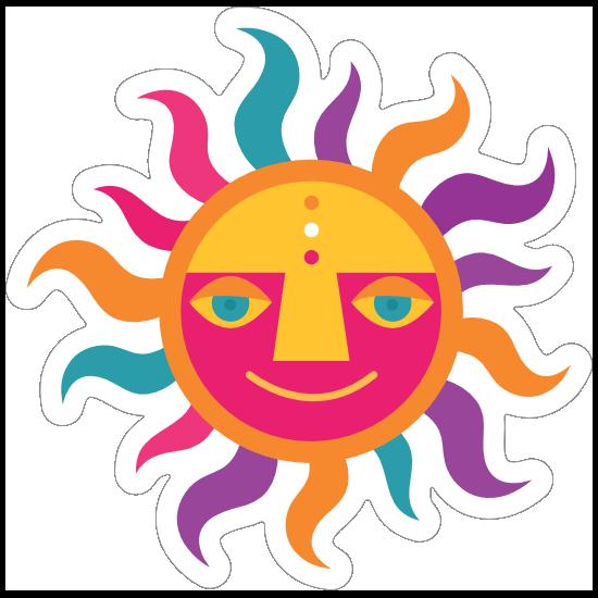Colorful Sun Hippie Sticker