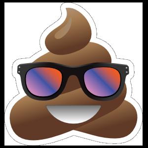 Colorful Sunglasses Poop Emoji Sticker