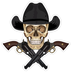 Cowboy Skull with Crossed Pistols Sticker