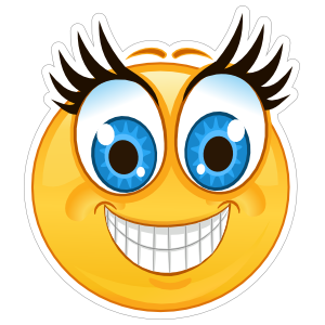 Crazy Blue Eyes Big Smile Emoji Sticker
