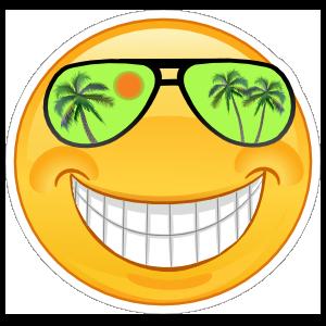 Crazy Cool Green Sunglasses Smiling Emoji Sticker