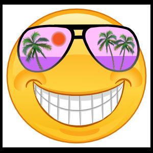 Crazy Cool Purple Sunglasses Smiling Emoji Sticker