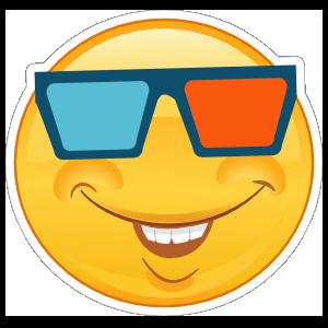Crazy Smiling Emoji with 3D Glasses Sticker