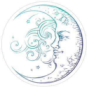 Crescent Moon in the Wind Sticker