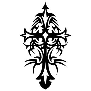 Detailed Tribal Cross Sticker