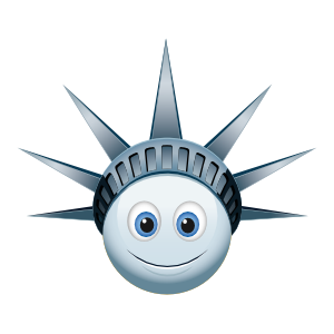 Cute Blue Lady Liberty Emoji Sticker