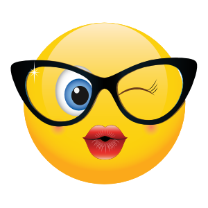 Cute Classy Glasses Female Winking Emoji Sticker