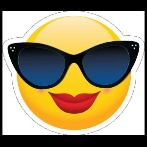 Cute Classy Sunglasses Female Emoji Sticker