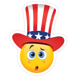 Cute Confused Patriot Emoji Sticker