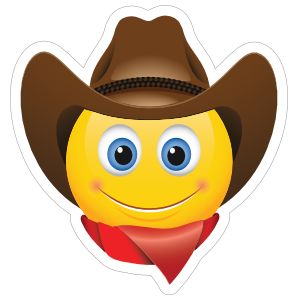 Cute Cowboy with Bandana Brown Hat Emoji Sticker