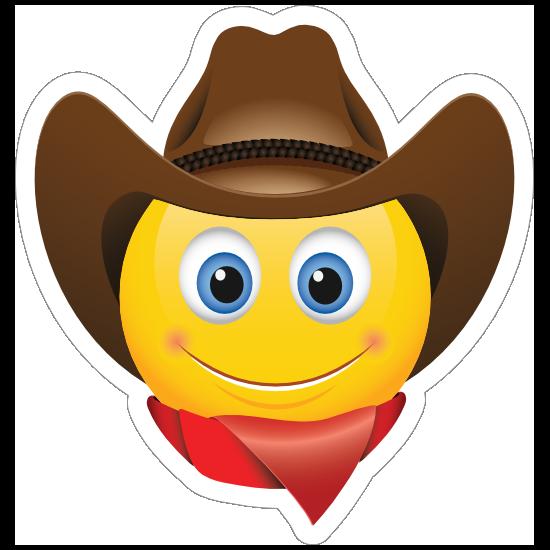 Cute Cowboy with Bandana Brown Hat Emoji Sticker