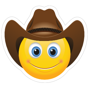 Cute Cowboy with Brown Hat Emoji Sticker