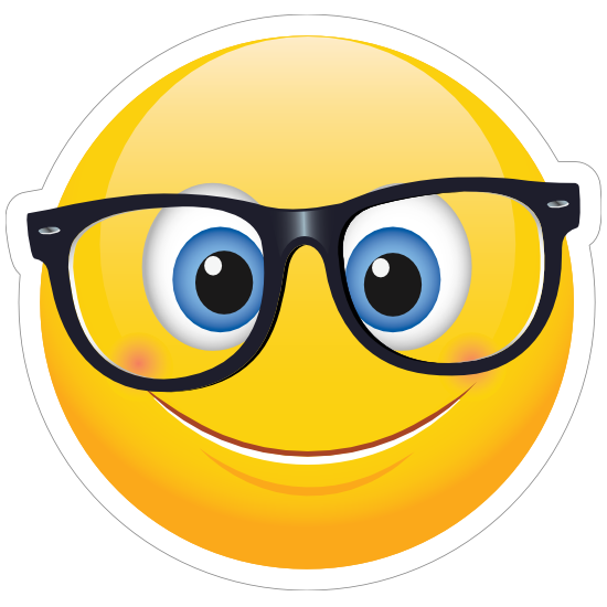 Cute Crooked Glasses Emoji Sticker