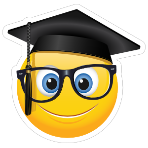 Cute Graduate with Glasses Emoji Sticker