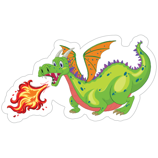 Cute Green Fire Breathing Dragon Sticker