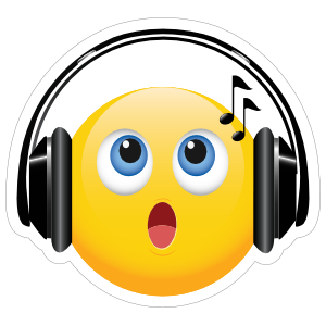 Cute Headphones Singing Emoji Sticker