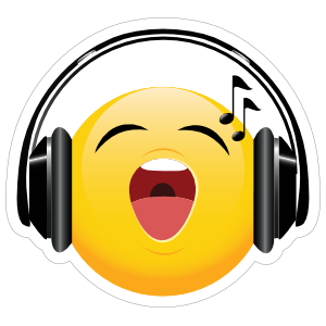 Cute Headphones Singing Loudly Emoji Sticker