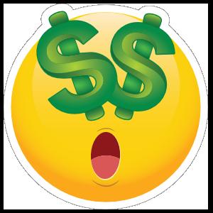 Cute Money Eyes Dollars Emoji Sticker