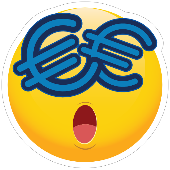 Cute Money Eyes Euros Emoji Sticker