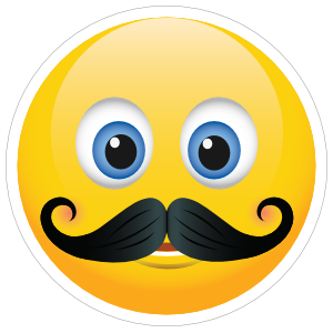 Cute Mustache Emoji Sticker
