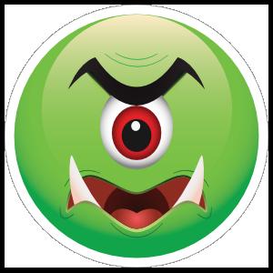 Cute One Eyed Green Monster Emoji Sticker