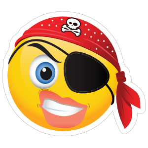 Cute Pirate Angry Female Emoji Sticker