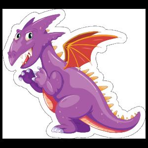 Cute Purple and Orange Dragon Sticker