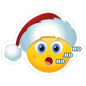 Cute Santa Claus Hat Ho Ho Ho Christmas Emoji Sticker