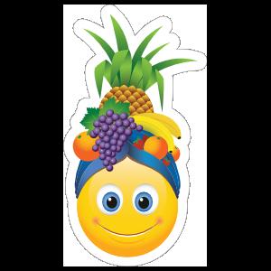 Cute Smiling with Fruit Hat Emoji Sticker