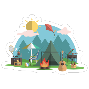 Campsite Fire Camping Sticker
