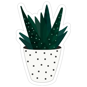 Dark Green Succulent in White Polka Dot Pot Sticker
