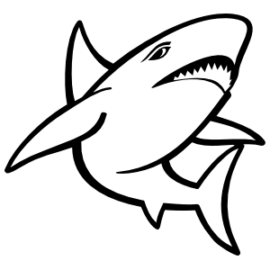 Cartoon Shark with Teeth Sticker