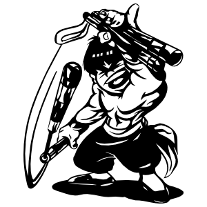 Japanese Warrior With Nunchucks Sticker