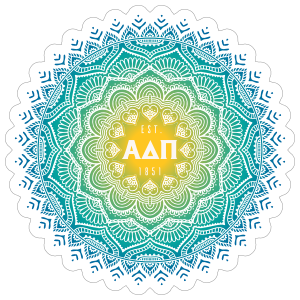 Yellow and Blue Alpha Delta Pi Mandala Sticker