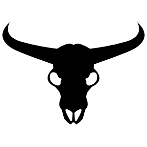 Bull Cow Complete Skull with Horns Sticker