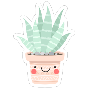 Succulent in a Happy Pot Sticker